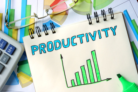 productivity: Productivity  concept. Notepad on the table.