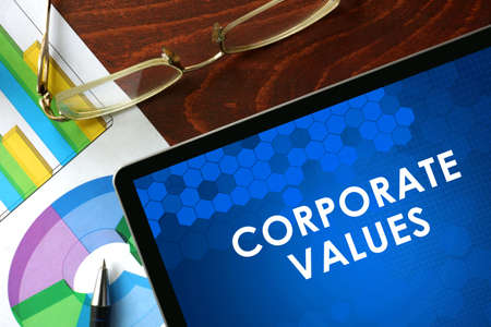 morality: Tablet with corporate values on a table. Business concept.