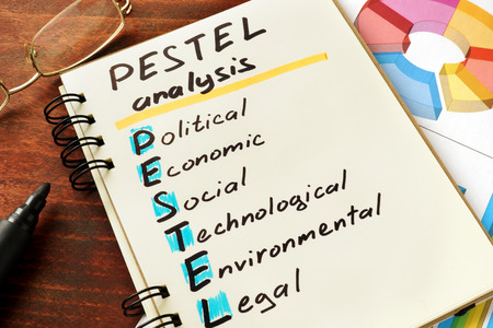 pestel: Notepad with pestel analysis on a table. Stock Photo