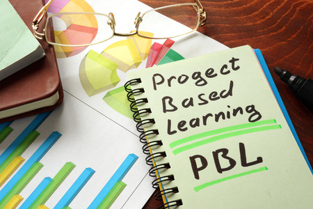 pbl: Notebook with  project based learning PBL sign.  Business concept.