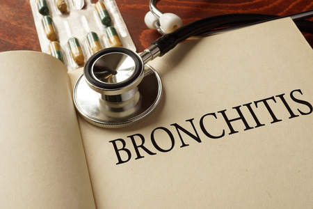 bronchitis: Book with diagnosis bronchitis. Medic concept.