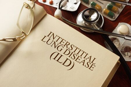 lung disease: Book with diagnosis  Interstitial lung disease ILD. Medic concept.