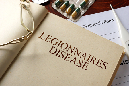 ailing: Book with diagnosis legionnaires disease. Medic concept. Stock Photo