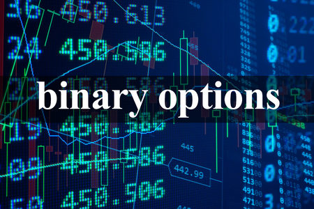 Words  binary options with the financial data on the background. Standard-Bild