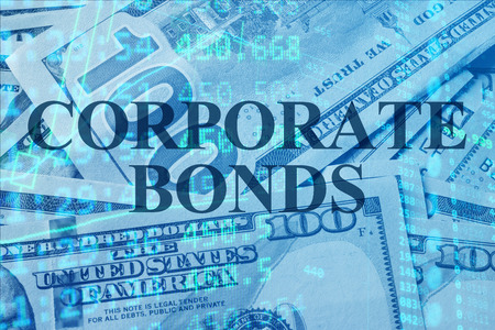 bonds: Words Corporate Bonds  with the financial data on the background. Stock Photo