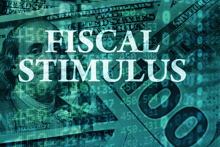 fiscal: Words   Fiscal stimulus with the financial data on the background.