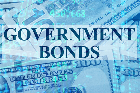 bonds: Words Government bonds  with the financial data on the background.