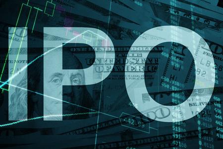 Mots IPO offre publique initiale avec les données financières sur l'arrière-plan.