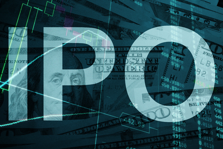 Words  IPO Initial public offering with the financial data on the background.
