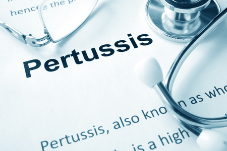 infectious: Paper with word  Pertussis disease and stethoscope.