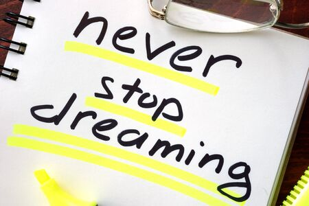 never: Motivation quote.  Never stop dreaming.