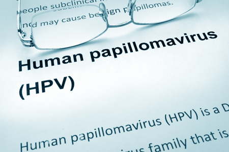 immune cells: Paper with words  HPV infection