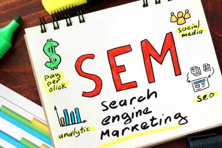 sem: SEM written in a notebook. Stock Photo