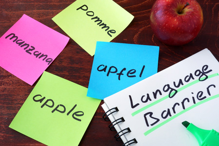 languages: Manzana escrito en los papeles en un diferentes idiomas. concepto de la barrera del idioma.
