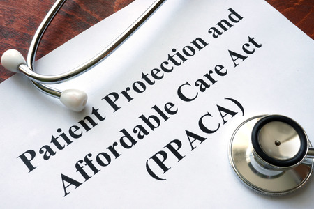 affordable: Words Patient Protection and Affordable Care Act PPACA written on a paper and stethoscope. Stock Photo