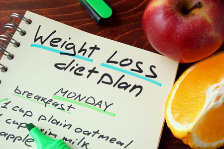 weight loss plan: Notepad with sign weight loss diet plan.
