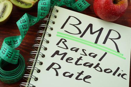 BMR basaal metabolisme geschreven op een vel van Klad blok. Stockfoto