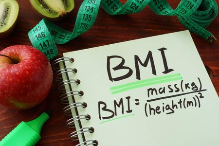 BMI: BMI body mass index  (metric formula) written on a notepad sheet.