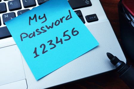 password protection: Easy Password concept.  My password 123456 written on a paper with marker.