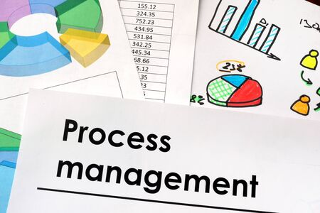 implementing: Process management sign written on a paper.