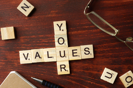 values: Words Your Values from wooden blocks with letters. Stock Photo