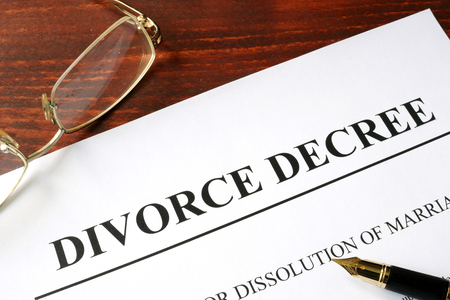 visitation: Divorce decree form on a wooden background Stock Photo
