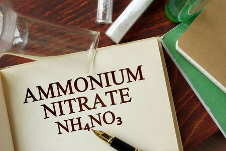 nitrate: Word ammonium nitrate written on a page. Chemistry concept.