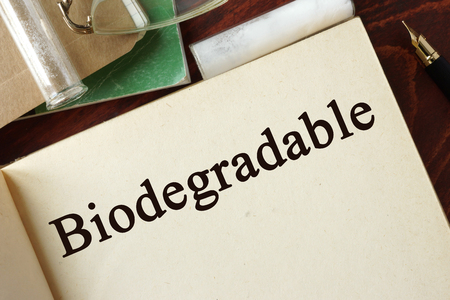 biodegradable: Biodegradable written on a page. Chemistry concept. Stock Photo