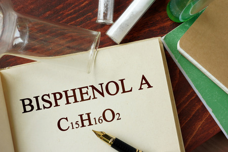 Bisphenol A written on a page. Chemistry concept.
