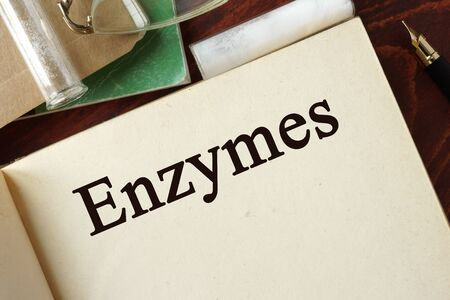 polymerase: Enzymes written on a page. Chemistry concept.