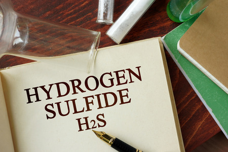 sulfide: Words hydrogen sulfide written on a page. Chemistry concept.
