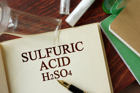 hydrochloric: Words sulfuric acid written on a page. Chemistry concept.