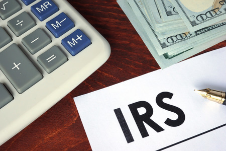 irs: IRS written on a paper. Financial concept.