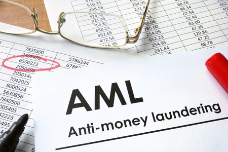 aml: Paper with words Anti-money laundering (AML)