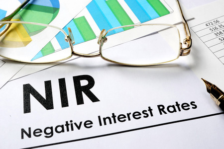 negative: Paper with words NIR  as Negative Interest Rate