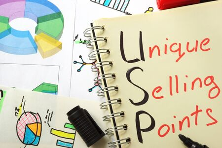 selling points: Notebook with  sign USP as unique selling points