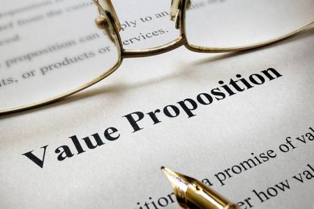 valor: Página de papel con la Propuesta palabras Valor