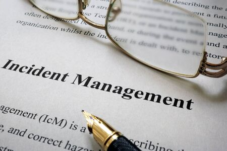 incident: Page of paper with words Incident Management Stock Photo