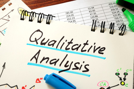 Sign Qualitative Analysis on a notepad Standard-Bild
