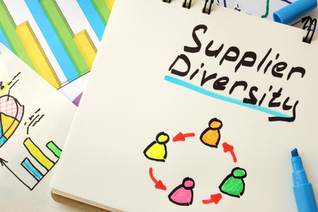 supplier: Sign supplier diversity on a page of notebook.