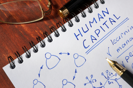 human capital: Notepad with Human Capital on a wooden surface.