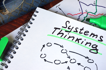 system: Notepad with Systems Thinking on a wooden surface. Stock Photo