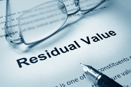 residual income: Paper with sign Residual value. Business concept. Stock Photo