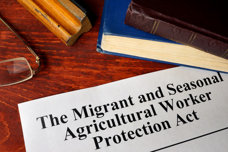 seasonal worker: The Migrant and Seasonal Agricultural Worker Protection Act and a book. awpamspa Stock Photo