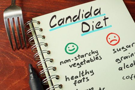 Candida diet with list of foods written on a note. Imagens