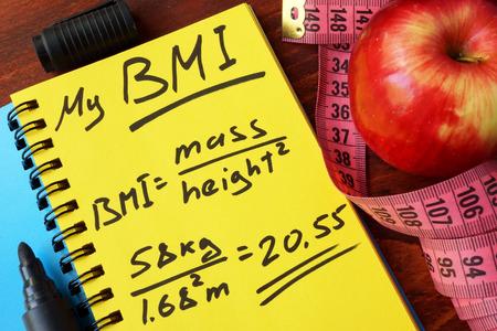BMI: My BMI formula written on a page. Body Mass Index.