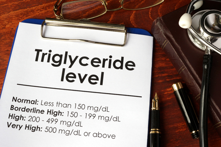 Triglyceride level chart on a table.