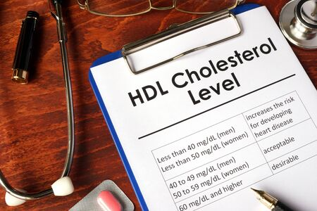 lipid: HDL (Good) Cholesterol level chart on a table.