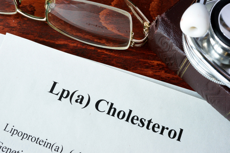 triglycerides: Papers with words Lp(a) Cholesterol on a table.