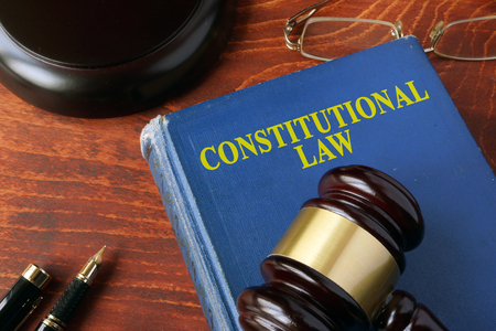 judgments: Title constitutional law on a book and a gavel. Stock Photo